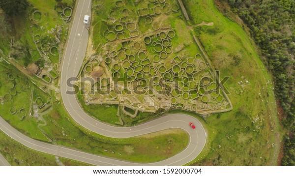 Aerial view in Castro de Santa Trega. A Celtic settlement in A Guarda. Galicia,Spain. Drone Photo