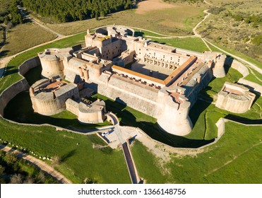 Aerial view of Catalan fortress Fort de Salses at sunny day, France