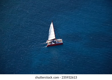 Aerial view of catamaran from helicopter