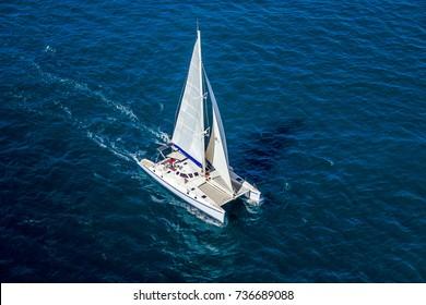 Aerial view of a catamaran navigating in the Indian Ocean