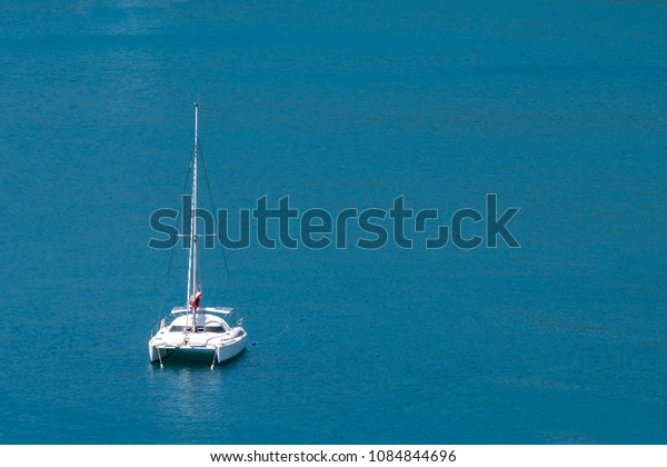 Aerial view of a catamaran sailing in the Andaman Sea, Phuket, T