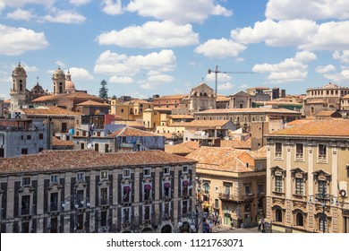 Aerial view of Catania old town and Piazza Duomo (Cathedral square), Sicily, Italy