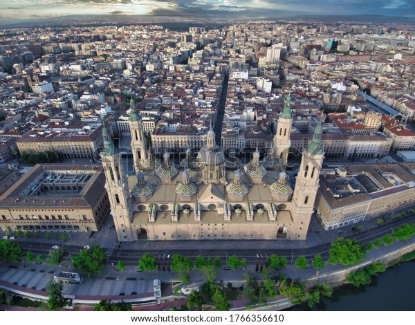 Aerial view in the Cathedral Basilica of Our Lady of the Pillar. Zaragoza,Aragon,Spain. Drone photo