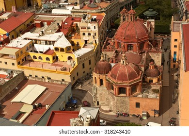 Aerial view of Cathedral Church in Guanajuato Mexico