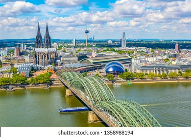 Aerial view of the cathedral in Cologne and Hohenzollern bridge over Rhein, Germany