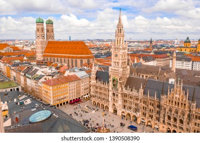 Aerial view of the cathedral Frauenkirche in Munich, Germany. Beautiful old town view.
