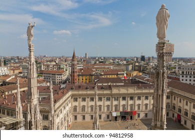 Aerial view from cathedral of Milan and it's intricate decorations over Milan, Italy