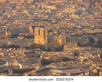 Aerial View of Cathedral Notre-Dame in Paris - France