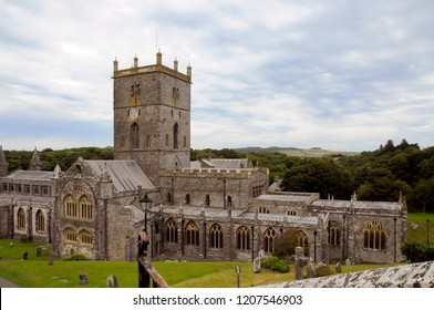 Aerial view at Cathedral of St Davids and ruins of Bishop's Palace. Wales, UK Great Britain. 2nd Aug. 2015