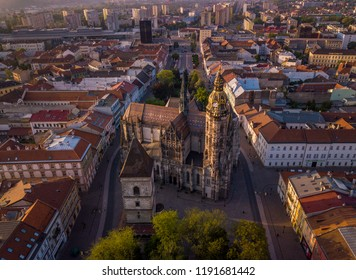 Aerial view to Cathedral of St Elizabeth and Kosice city center - Kosice, Slovakia. Beautiful morning light.