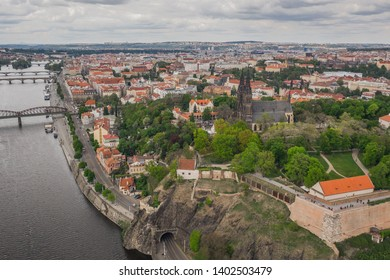Aerial view of Cathedral of St. Peter and Paul, Vysehrad, Prague
