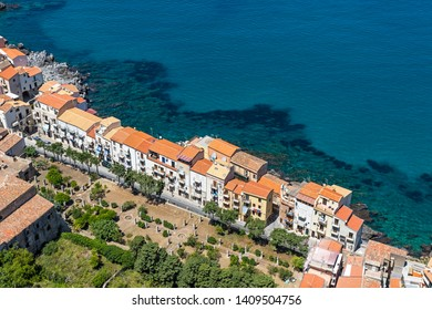 Aerial view of Cefalu old town, Sicily, Italy. Cefalu is one of the major tourist attractions in Sicily. Picturesque view from Rocca di Cefalu