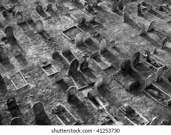 Aerial View of a Cemetery in Black and White