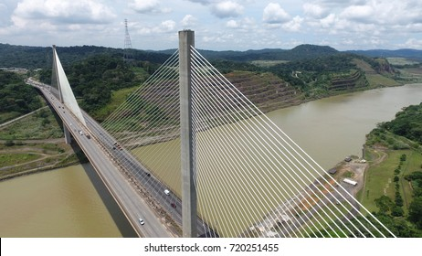 Aerial view of Centennial Bridge across the Panama Canal looking towards the South side of Panama