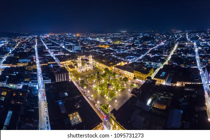 Aerial view of the center of Cordoba, Veracruz, Park 21 de Mayo with the Cathedral of the Sagrario of the Immaculate Conception in the background