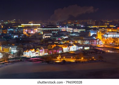 Aerial view of the center of night Minsk, Belarus
