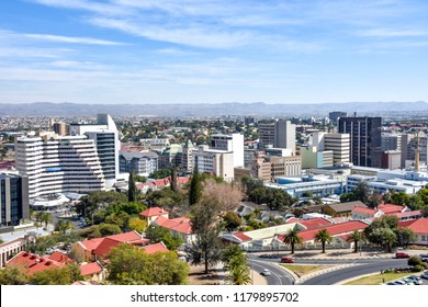 An aerial view of the center of Windhoek the capital of Namibia in Southern Africa on a beautiful bright sunny day against a blue sky