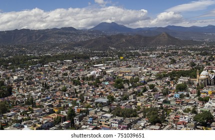 Aerial view of the center of Xochimilco, in the south of Mexico City, with the Ajusco mountain range in the back