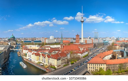Aerial view of central Berlin on a bright day in Spring, including river Spree and Alexanderplatz TV tower