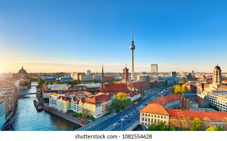 Aerial view of central Berlin on a bright day in Spring, including old City Hall and television tower on Alexanderplatz