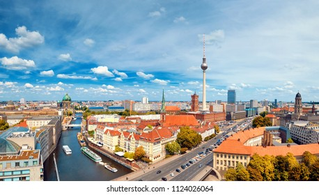 Aerial view of central Berlin on a bright day in Summer, including river Spree and television tower at Alexanderplatz