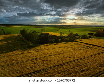 Aerial view of central European countryside