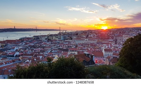 Aerial view of central Lisbon with red tile roofs