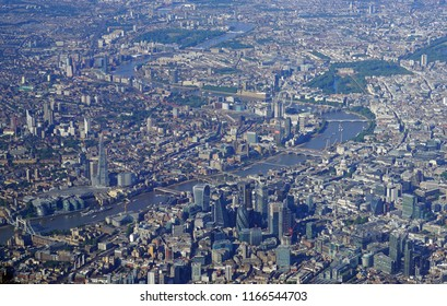 Aerial view of Central London and the River Thames from an airplane window