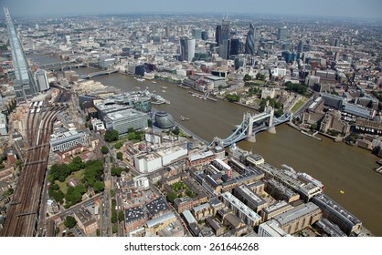 aerial view of central London, The Thames, The Shard, Tower Bridge & The City of London