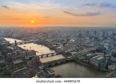 Aerial view of central London, UK, at sunset. Taken from The Shard building observation deck.