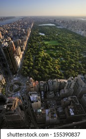 Aerial view of Central Park and Columbus Circle, Manhattan, New York; Park is surrounded by skyscraper