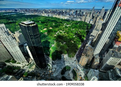 Aerial view of Central Park and Columbus Circle, New York City