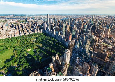 Aerial view of Central Park and Midtown Manhattan, NY