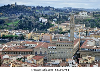 Aerial view at central part of Florence, Italian region of Tuscany, Italy