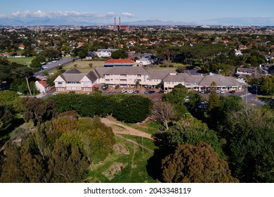 Aerial view of the Central Square Shopping Centre in the Garden City of Pinelands, Cape Town, Western Province, South Africa. 15 September 2021.