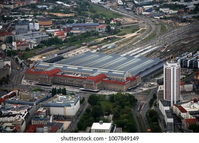 aerial view of the Central Station at Leipzig, Germany
