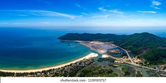 Aerial view of Chan May bay and beach, harbor, Hue, Vietnam. Panorama