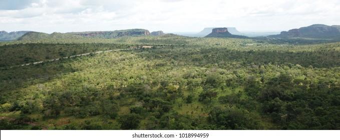 Aerial view of the Chapada das Mesas National Park in the county o Carolina, Maranhao, Brazil