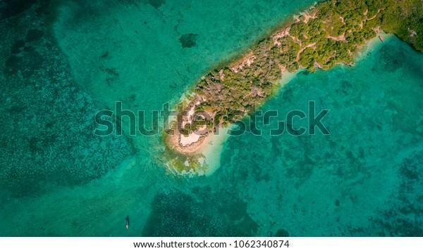 aerial view of the chapwani island in Zanzibar