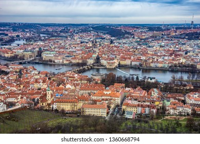 Aerial view of the Charles bridge and Old Town buildings in Prague, Czech Republic, Europe