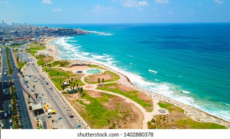 Aerial view of Charles Clore Park and Alma Beach Tel Aviv