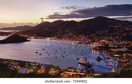 Aerial view of Charlotte Amalie Harbour in St Thomas at sunset