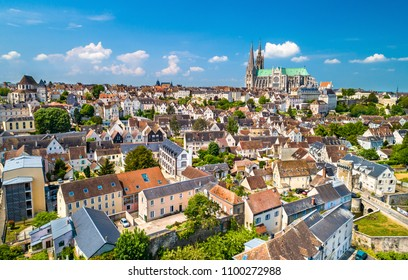 Aerial view of Chartres city with the Cathedral of Our Lady. A UNESCO world heritage site in Eure-et-Loir department of France