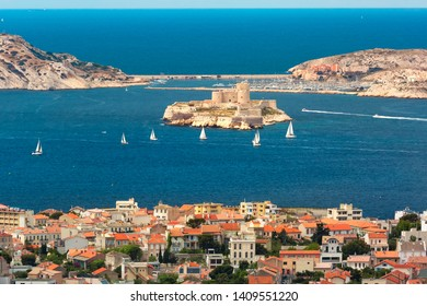 Aerial view of Chateau d If, famous historical castle prison on island in Marseille bay, France