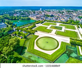 Aerial view of Chateau de Fontainebleau, a residence for the French monarchs. Now a UNESCO World Heritage Site in France