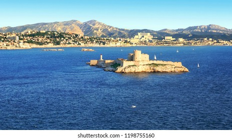 Aerial view of Chateau d'If and the coast in Marseille, France.