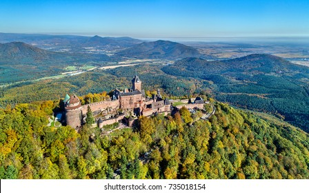 Aerial view of the Chateau du Haut-Koenigsbourg in the Vosges mountains. A major tourist attraction in Alsace, France