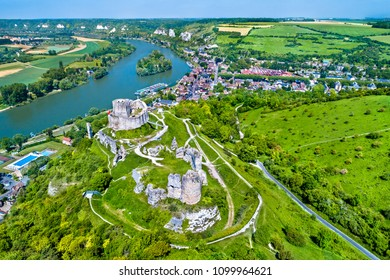 Aerial view of Chateau Gaillard, a ruined medieval castle in Les Andelys town - Normandy, France