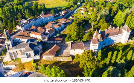 Aerial view of Chateau L'eveque commune in the Dordogne department in Nouvelle-Aquitaine, France