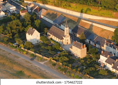 Aerial view of the Chaumont-sur-Loire church, Loir-et-Cher department (41), in the Loire Valley, France
